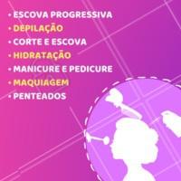 Alguns dos nossos serviços para te deixar mais linda! 👸 #salaodebeleza #ahazou #beleza #cabelo #depilaçao #manicure #pedicure #maquiagem #penteado