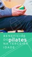 1- Reduz as dores 2- Previne lesões 3- Corrige a postura 4- Fortalece o corpo 5- Evita doenças e reabilita as patologias já existentes 6- Aumenta a flexibilidade 7- Aumenta o equilíbrio 8- Estimula a consciência corporal 9- Melhora a atenção 10- Proporciona um imenso bem-estar. Praticar Pilates na terceira idade é essencial para envelhecer com saúde pois o método proporciona diversos benefícios que melhoram muito a vida dos praticantes. #pilates #terceiraidade #ahazou #beneficios #saude