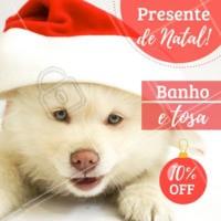 Olha só este presente de natal! Aproveite o banho e tosa a preço promocional! Traga o seu amiguinho. #petshop #ahazoupet #banho #tosa #natal