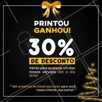 Neste natal nosso presente é pra você!   Tire um print desse post, apresente, e ganhe na hora 30% DE DESCONTO em qualquer um dos nossos serviços ! #ahazou #campanhanatalahz #natal #promocao #anonovo