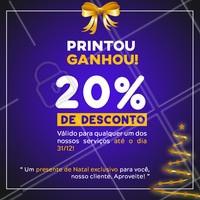 Neste natal nosso presente é pra você!   Tire um print desse post, apresente, e ganhe na hora 20% DE DESCONTO em qualquer um dos nossos serviços ! #ahazou #campanhanatalahz #natal #promocao #anonovo