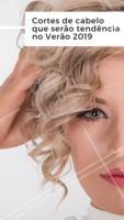 """1. Pixie Cut: o corte bem curtinho, também chamado de """"""""Joãozinho"""""""", vai fazer muito sucesso em 2019! Ousado e moderno, aposte. 2. Corte assimétrico: esse corte já apareceu esse ano, mas 2019 vai bombar. Franjas e laterais maiores que o resto do cabelo. 3. Longo e repicado: depois da febre do blunt cut, os cortes longos vão voltar a moda!  #tendencia2019 #ahazou #verao #cabelo #cabeleireiro"""