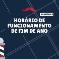 Atenção aos nossos horários de funcionamento nesse fim de ano! Aproveite para marcar seu horário e não fique para trás. #barbearia #ahazou #barba #fimdeano