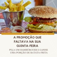 Não perca essa promoção que anima a quinta-feira de qualquer um! Corre pra fazer o seu pedido #hamburguer #burger #ahazougastronomia #ahazouapp #amorporhamburguer #batatafrita #quinta #promocao