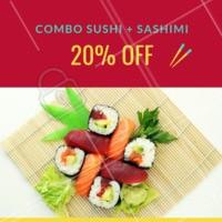 20% de desconto nesse combo? É isso mesmo, você não vai perder essa né? Peça já o seu! #combo #sushi #ahazou #sashimi #japones #delivery