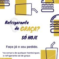 Vocês pediram, a gente atendeu! Refrigerante de graça na compra de qualquer hambúrguer. Faça já o seu pedido e aproveite! #hamburguer #burger #ahazougastronomia #ahazouapp #amorporhamburguer #refrigerante #promocao