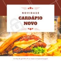Tem novidades no cardápio da XXXXXX e você tem que conferir! #novidades #cardapio #ahazou #hamburguer #loucosporburger #hamburgueria