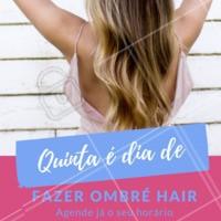 Quinta é dia de mudar a cabeleira! Quer fazer ombré hair? Vem com a gente! Agende já o seu horário e venha ser atendida por especialistas. #quintou #ombrehair #ahazou #ahazoucabelos