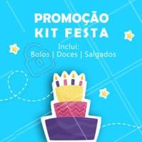 Montamos uma super promoção para você! Quer saber mais? Entre em contato conosco. #suafesta #bolos #doces #salgados #ahazou #kitfesta
