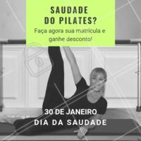 Bateu aquela saudade de fazer pilates? Aproveite o dia da saudade e ganhe um descontão na matrícula! #pilates #fisio #ahazou #diadasaudade