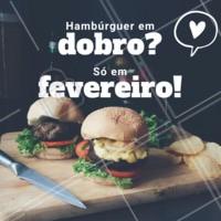 É hambúrguer em DOBRO que vocês queriam? 🍔🍔 Aproveitem que é só nesse mês, corre pra cá ou peça já o seu! #hambugueremdobro #doubleburger #hamburgueria #ahazouburger #promocao #fevereiro