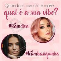 Todas nós temos uma vibe só nossa, algumas mais quietinhas, outras mais impulsivas ou extrovertidas. Quando o assunto é make, qual é a sua vibe: Team basiquinha ou team diva? Conta para a gente aqui nos comentários! 😉⠀ ⠀ #tipodegarota #makeup #maquiagem #ahazou #makeuplovers #beauty #beautiful #pretty #kitty #braziliangal #girl #team #basica #vibe #quot