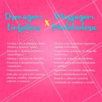 Você sabe a diferença entre a drenagem linfática e a massagem modeladora? Confira na imagem! 😉 #massagemmodeladora #ahazou #drenagemlinfatica
