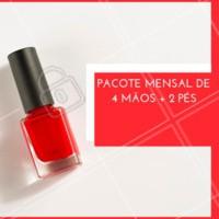 Que tal adquirir nosso pacote mensal de 4 mãos + 2 pés pra viver de unha feita o mês todo? 💅 #manicure #pedicure #promocao #ahazou
