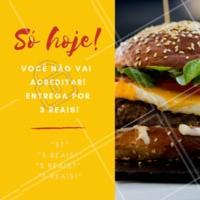 Não vai ficar de fora dessa promoção, né? Entrega por apenas 3 reais! Faça já o seu pedido! #entrega #3reais #hamburguer #ahazou