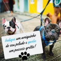Quanto mais cachorros, melhor 🐶😍 Indique um amiguinho do seu pet, e ganhe um passeio grátis para o seu peludo! #dogwalker #passeios #ahazoupet #promo #indicacao #cachorro