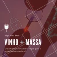 Aproveite nossas promoções de terça à quinta e surpreenda o seu amor! #massa #vinho #ahazoutaste #comidaitaliana #amor