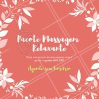 Fechando um pacote de massagens com a gente, você ganha 10% OFF no valor final. Agende já o seu horário e venha relaxar! #massagem #massoterapia #ahazoumassagem #promocao #seame #secuide