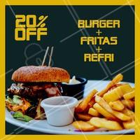 20% de desconto nesse combão? É isso mesmo, você não vai perder essa né? Peça já o seu! #combo #hamburguer #ahazou #fritas #refri #promocao #delivery