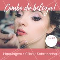 Esse é o verdadeiro combo da beleza feminina. Aproveite e agende seu horário! #makeup #maquiagem # cilios #ahazou #sobrancelha #combo #promocao #beleza