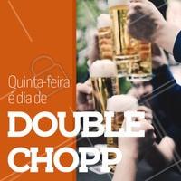 Para entrar no clima de final de semana, toda quinta-feira oferecemos Double Chopp até às 20h. #chopp #double #ahazou #promocao