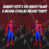 Marca aquele amigo que faz transmissão de pensamento com você! 😄😄 #spiderman #spider #spiderquots #memedospider #emalta #amizade #ahazou #amigos #friendship #friends #transmissao #conectividade