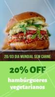 Para comemorar o dia internacional sem carne, estamos com o desconto de 20% em todos os nossos lanches vegetarianos. #lanche #vegetariano #ahazou #desconto #diasemcarne