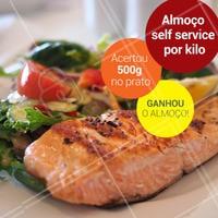Mais uma promoção de peso! Venha almoçar aqui e acertando exatamente 500g no prato ganhe o almoço.  Aproveite, pois é só até dia 30/04. #acerteeganhe #ahazoutaste #food #promocao