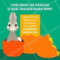 Uma promoção dessas, em pleno espírito de páscoa, é de arrancar suspiros 😋 #ahazoutaste #food #taste #pascoa #promocao #coelinhodapascoa