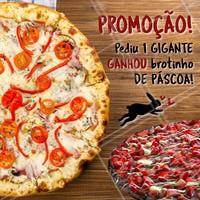 Nessa páscoa comprando 1 pizza Gigante você GANHA 1 brotinho de chocolate! Dá pra acreditar?? Delícia né? 🤤 Feliz Páscoa! 🐰 #pascoa #ahazou #felizpascoa #pizzaria #coelhinho #pizza #chocolate