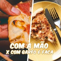 E aí, de que time você é? Que come pizza com a mão ou com garfo e faca? Comenta aqui pra gente ver quem ganha essa! 🥊  #pizzaria #ahazoutaste #pizza