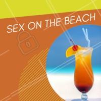 Sex On The Beach é um coquetel feito com vodka, licor de pêssego, suco de laranja e grenadine. Sua origem é do Estados Unidos 🇺🇸 Quem aí gosta? #bares #ahazoutaste #bebidas #drinks #sexonthebeach