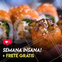 SEMANA INSANA!!! 🔥🔥 Todo o cardápio, isso mesmo, TODO O CARDÁPIO* COM DESCONTO + ENTREGA GRÁTIS!! 😍🍣🛵 SIM A SEMANA TODINHA! *Não cumulativa com outras promoções, confira a disponibilidade dos pratos. #sushi #sashimi #hashi #temaki #uramaki #teriaky #wasabi #yakisoba #japanesefood #asianfood #ahazou #culinariajaponesa #japa #japones #japonesa