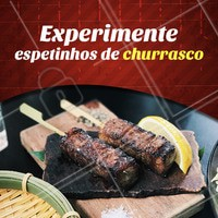 Hmm que tal experimentar nossos espetinhos de churras? 😋 #churrasco #ahazoutaste #churras #espetinho