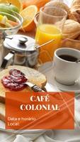 Você é nosso convidado especial para o Café Colonial que ocorrerá no dia XX às XX horas no local XX ☕️ Esperamos você! #café #ahazoutaste #cafécolonial