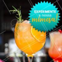 Você conhece a Mimosa? Mimosa é um drink que leva Suco de Laranja e Champanhe! Ficou curioso para saber como é? Vem pra cá experimentar! #bares #drinks #ahazou #mimosa