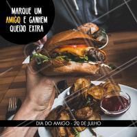 Não vai perder essa promo né? Marque seu amigo nos comentários e apresente o print! #diadoamigo #ahazou #promocao #hamburguer #hamburgueria