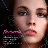 Você já ouviu falar da Niacinamida? É uma vitamina do complexo B e está presente em diversos dermocosméticos para cuidados com a pele. Seu uso melhora manchas, hidrata, regula a produção do sebo, reduz a pigmentação da pele, retarda o envelhecimento, combate os radicais livres e auxilia na diminuição da sensibilidade. #niacinamida #ahazou #esteticafacial #estetica