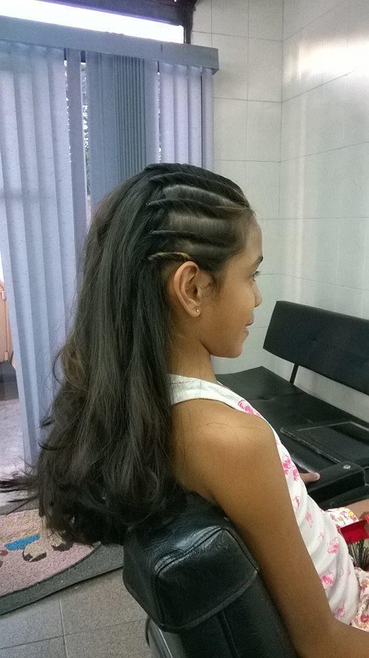 Penteado semi preso penteado infantil cabelo caixa auxiliar cabeleireiro(a) cabeleireiro(a) maquiador(a)