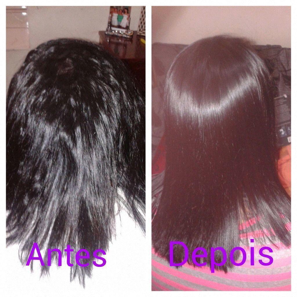 progressiva antes e depois cabelo lavado com shampoo anti-residuo , secado , aplicado produto , secado novamente e pranchado , cabelo lavado com agua aplicado mascara reconstrutora , enxaguado , e secado .