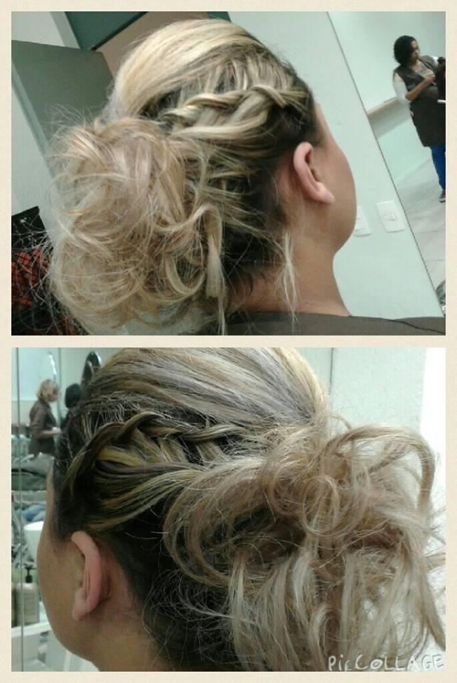 penteado penteado festa penteado preso, trança cabelo  maquiador(a) designer de sobrancelhas