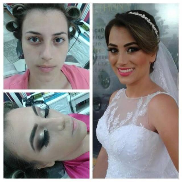 Make e Hair ANTES DE DEPOIS noiva, penteado preso maquiador(a) consultor(a) em imagem