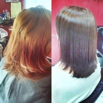 Correção de cor e corte de pontas cabeleireiro(a)