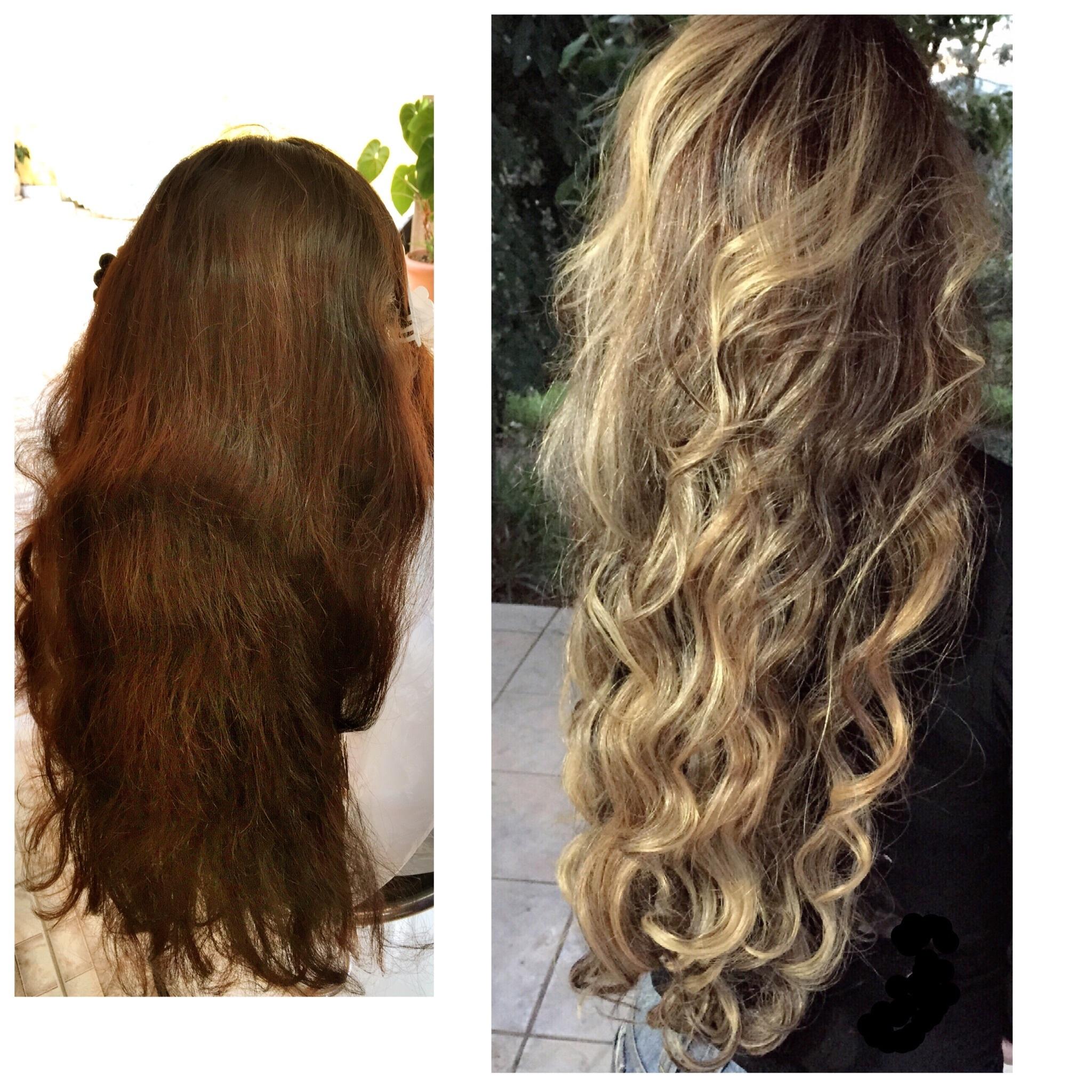 Antes e depois loiro, luzes, cachos cabelo cabeleireiro(a)
