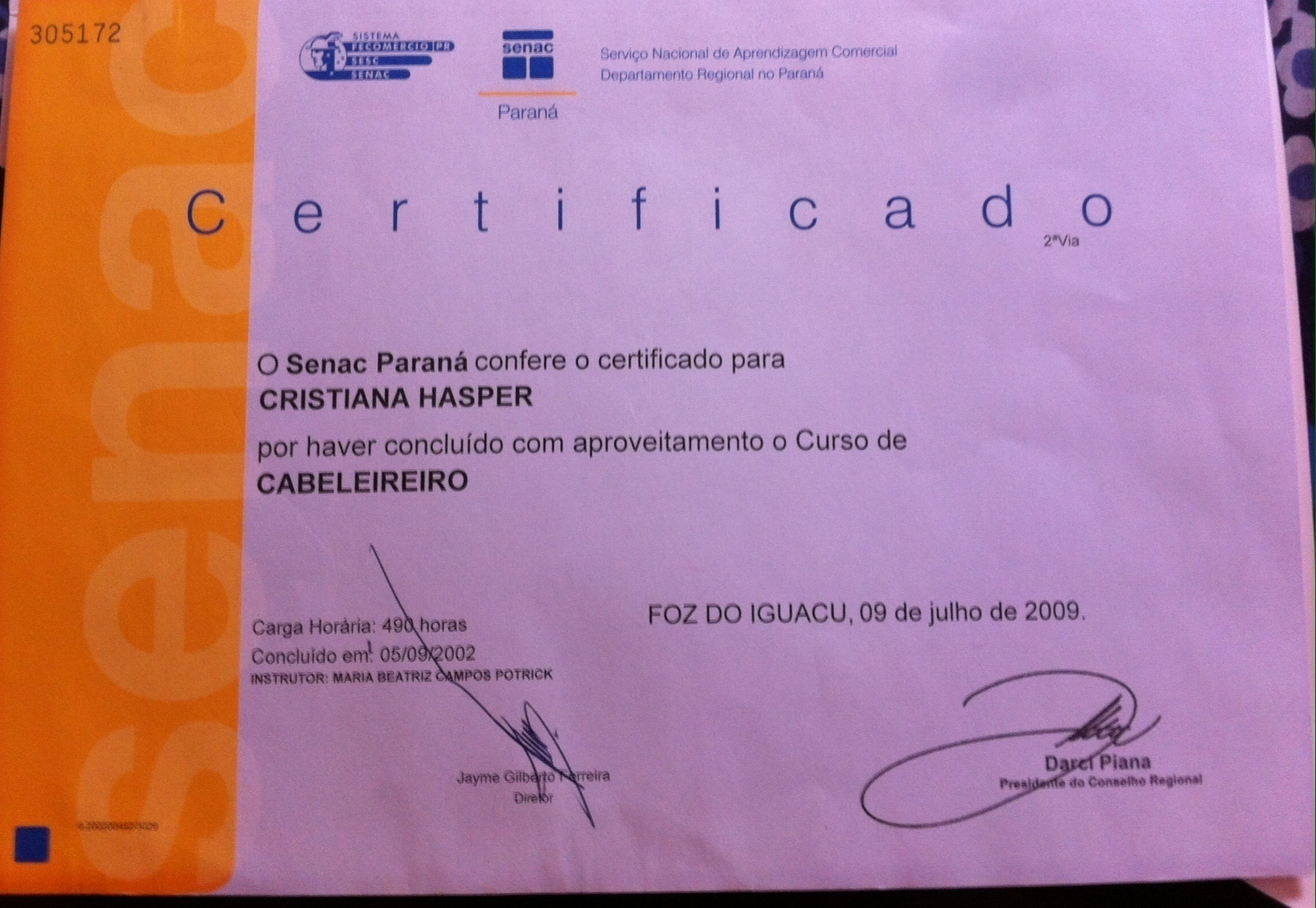 Certificado cabeleireiro(a) depilador(a)