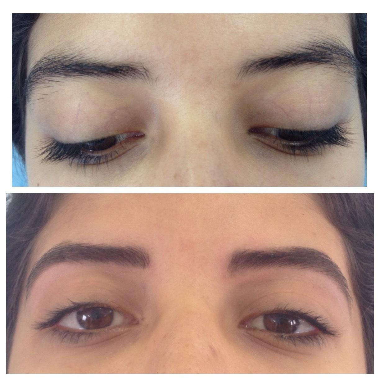 Antes e depois Medição com paquímetroDesign com pinçaPreenchimento com sombra a pedido da cliente Design de sobrancelha  estética  designer de sobrancelhas