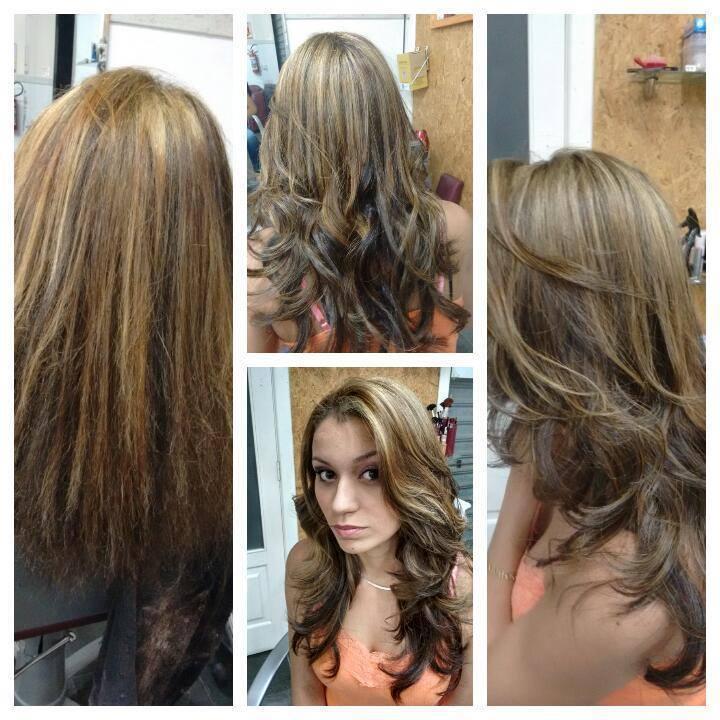 correção foi feito uma correção de cor, e matizado as luzes com um caramelo cabeleireiro(a)