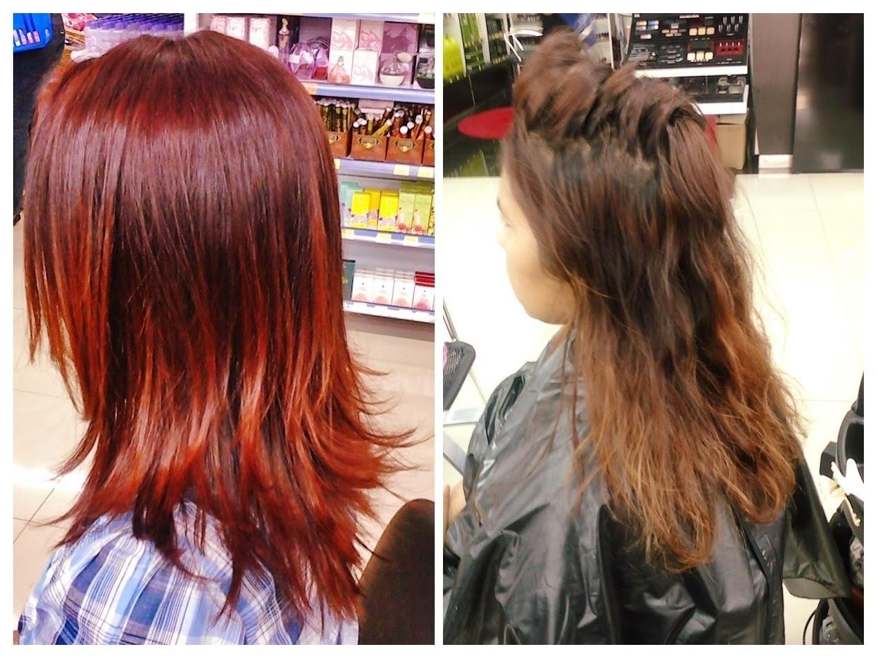 Antes e Depois Cor com intensificador de vermelho e corte desconectado para a aniversariante arrazar ! cabelo cabeleireiro(a)