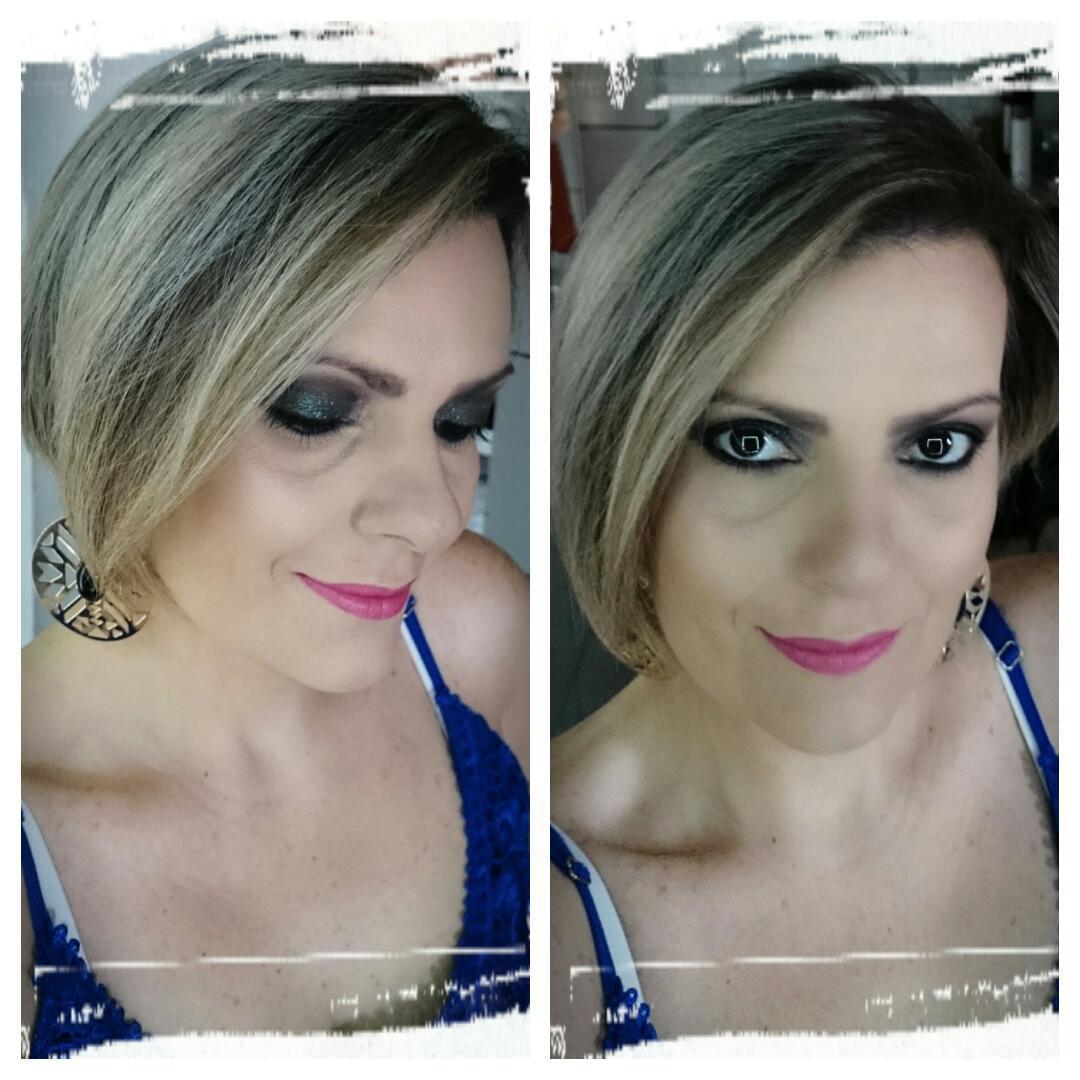 Sombra escura com batom rosa  maquiagem  maquiador(a)
