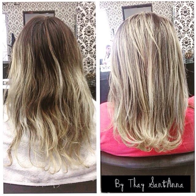 Antes e Depois Antes e Depois de luzes com correção de cor e corte. cabelo  maquiador(a) cabeleireiro(a) designer de sobrancelhas empresário(a) / dono de negócio micropigmentador(a)